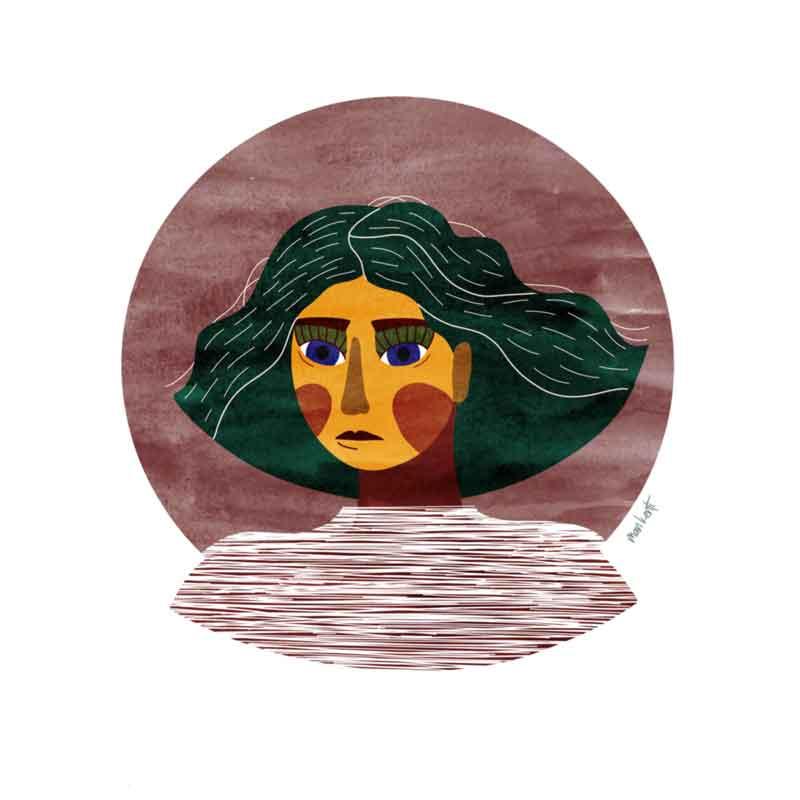 illustration autoportrait man kenti aquarelle