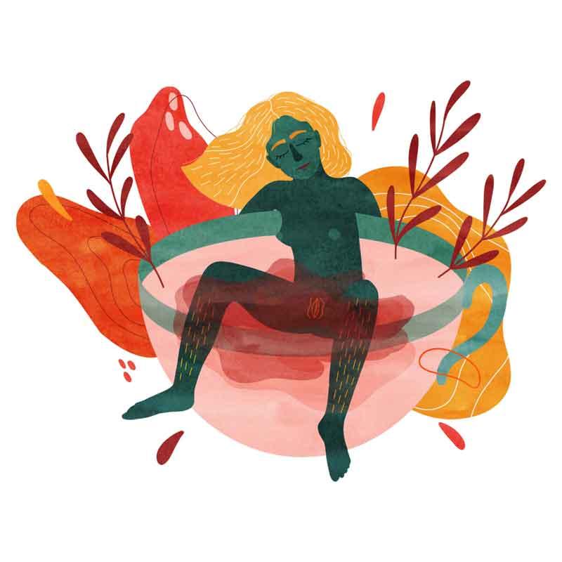femme menstruation règles dans le bain bathbomb