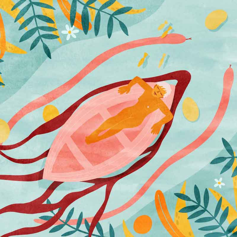 femme menstruation barque dans une rivière