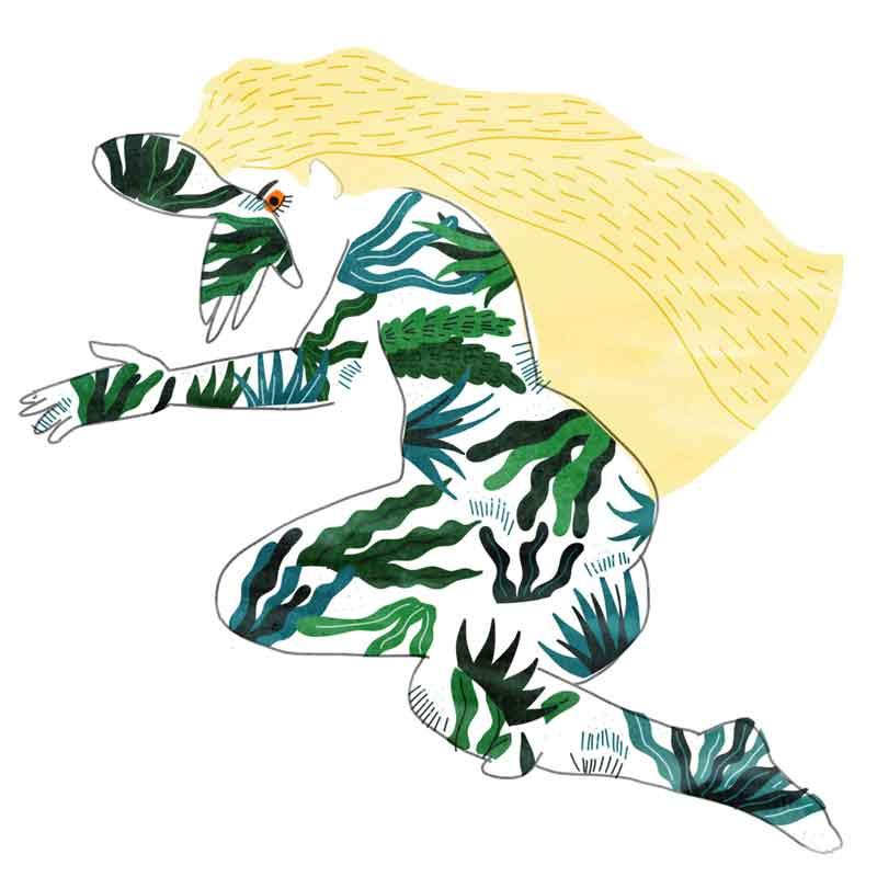 illustration femme envahie par les plantes