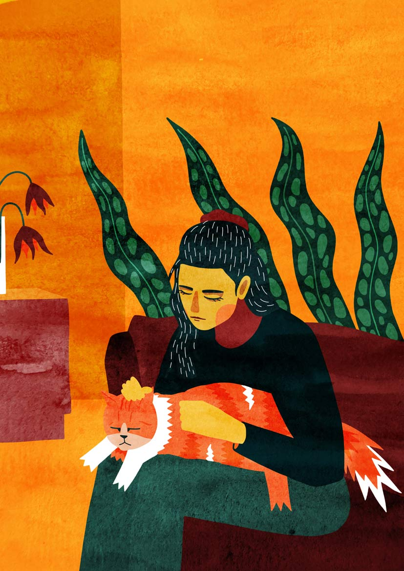 illustration femme et son chat